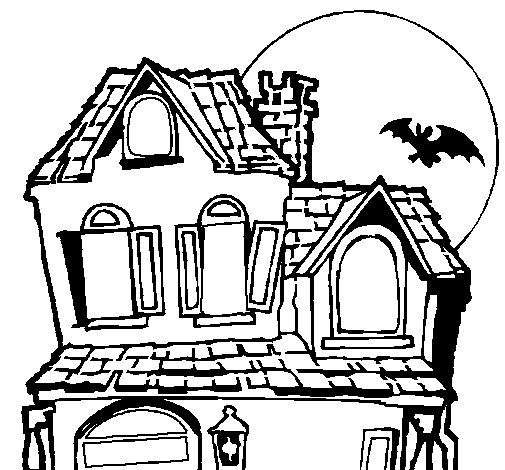 Mysterious house coloring page