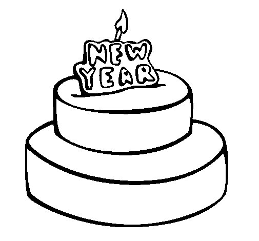 New year cake coloring page