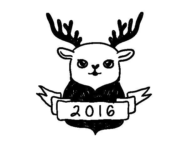 New Year's Eve reindeer coloring page