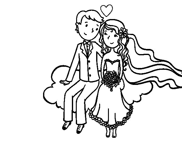 Newlyweds in a cloud coloring page