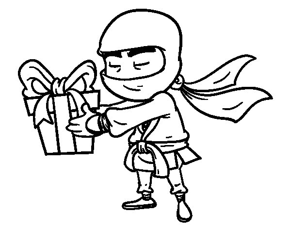 Ninja with present coloring page