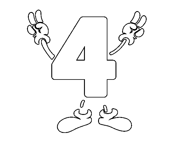 Number 4 Coloring Pages Democraciaejustica