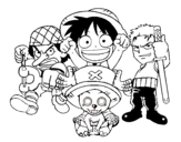 One Piece characters coloring page