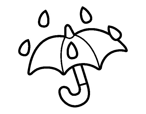 Open umbrella coloring page