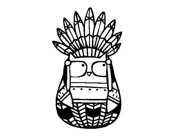 Owl indian chief coloring page