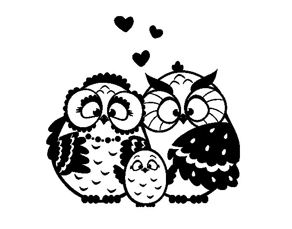 Owls family coloring page