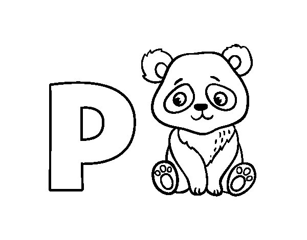 P of Panda coloring page