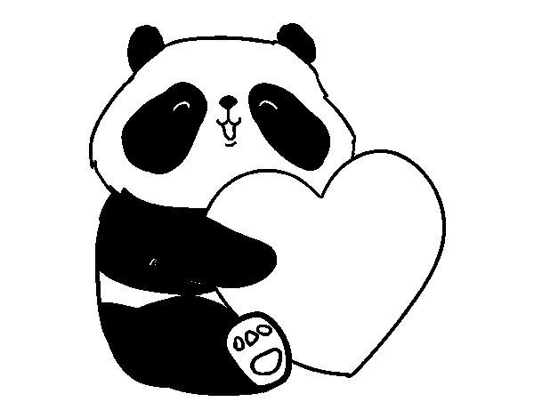 Panda Love coloring page