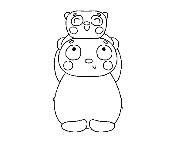 Panda mother and breeding coloring page