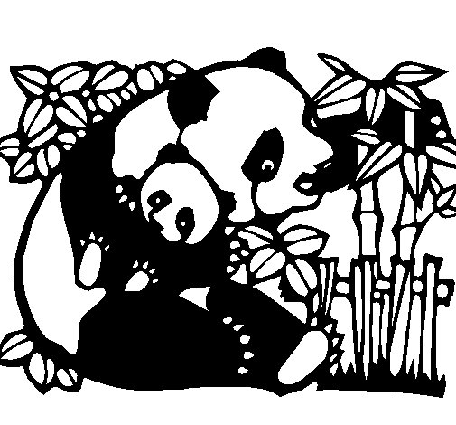 Panda mother coloring page