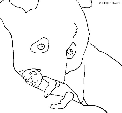 Panda with baby coloring page
