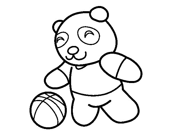 Panda with ball coloring page