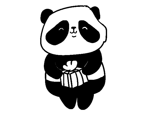 Panda with present coloring page