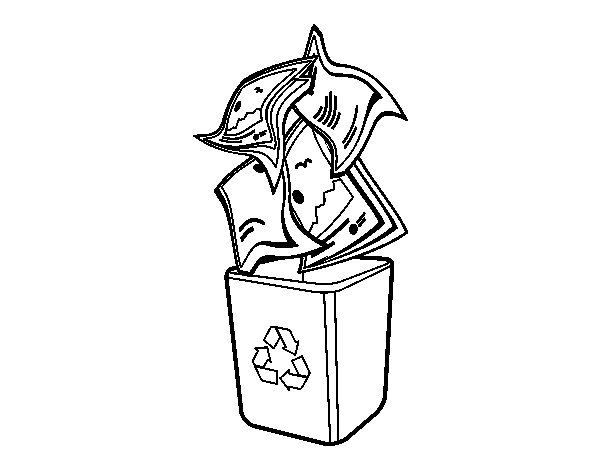 Paper recycling coloring page