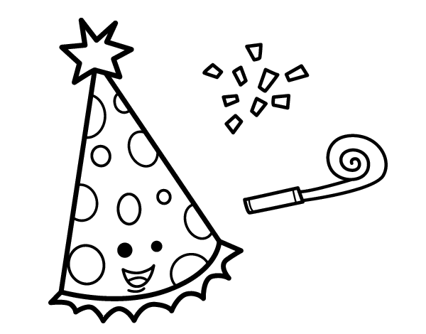 Party hat coloring page for Coloring pages of birthday hats