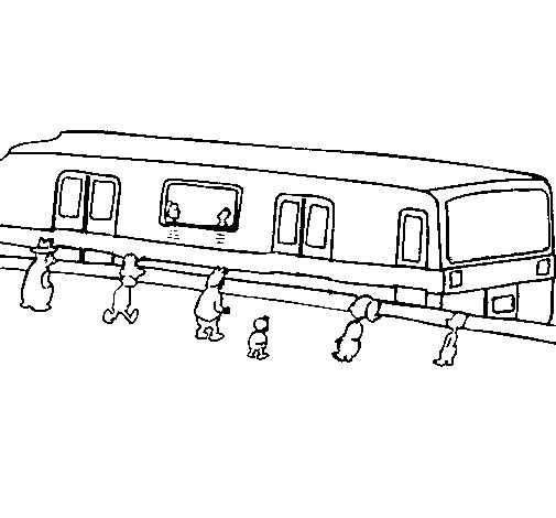 Passengers waiting for a train coloring page