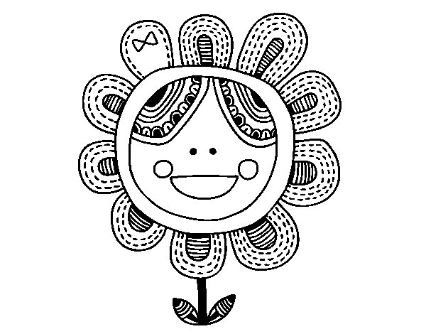 Patchwork flower coloring page