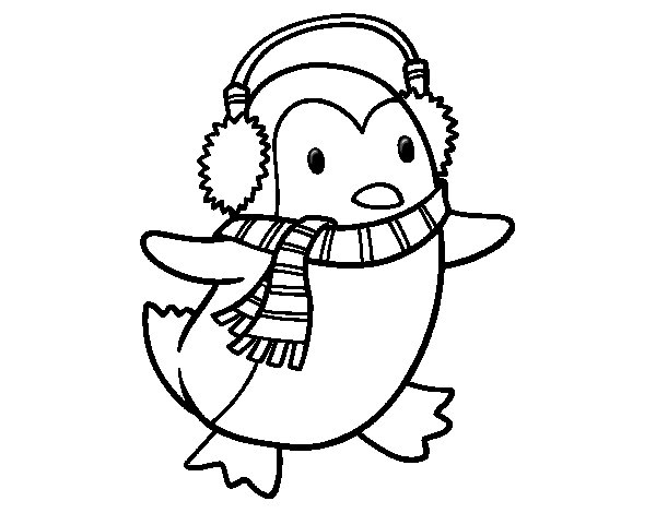 Penguin with scarf coloring page