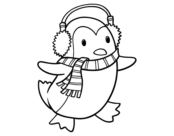 penguin with scarf coloring page coloringcrewcom