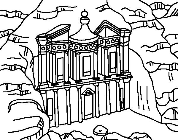 Petra's Treasury from Al Khazneh coloring page