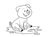Dibujo de Pig in mud