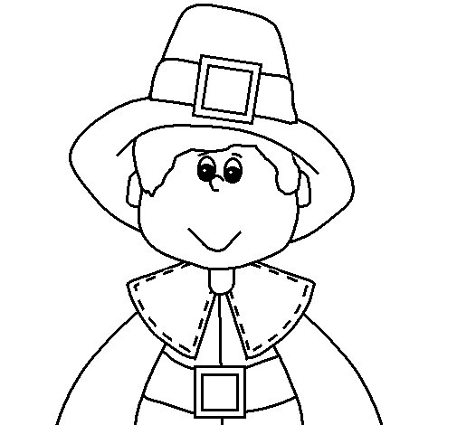 Pilgrim boy coloring page