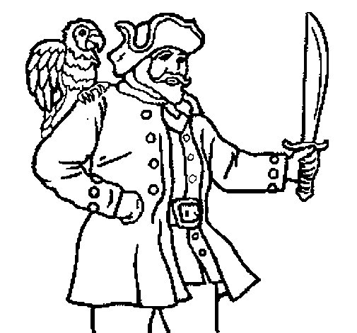 Pirate with parrot coloring page