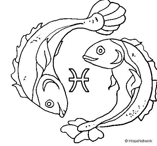 Pisces Coloring Page Coloringcrew Com