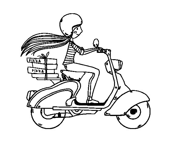 Pizza delivery girl coloring page