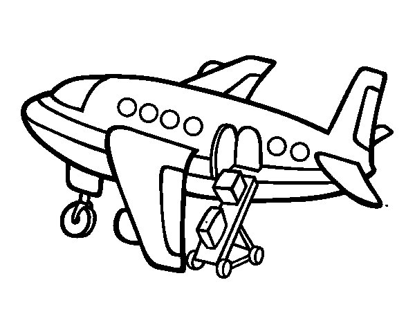 Plane carrying baggage coloring page