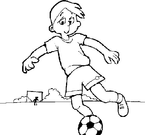 Playing football coloring page