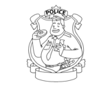 Police with donut coloring page