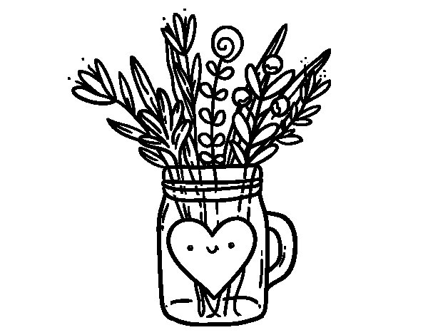 Pot with wild flowers and a heart coloring page