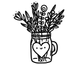 Dibujo de Pot with wild flowers and a heart