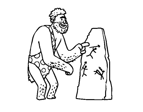 Prehistoric man cave paintings coloring page