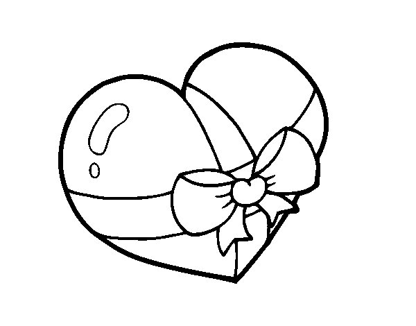 Present heart coloring page