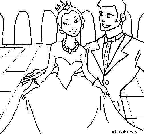 Prince and princess at the dance coloring page