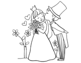 Prince and princess newlyweds coloring page