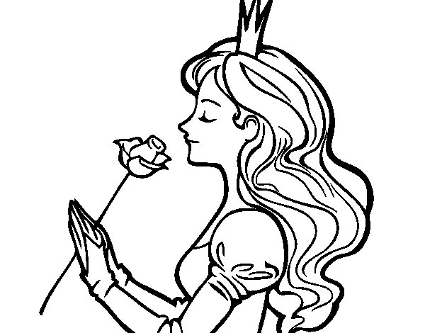 Princess and rose coloring page