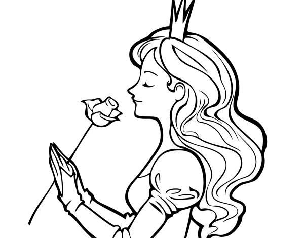 Princess Rose Coloring Pages : Princess and rose coloring page coloringcrew