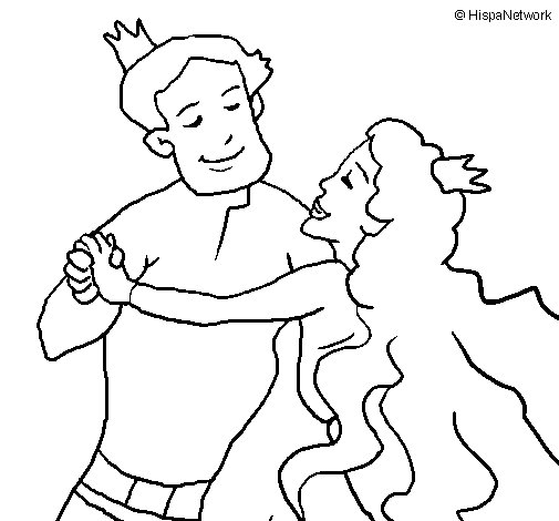 Princess dance coloring page