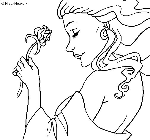 Princess with a rose coloring page