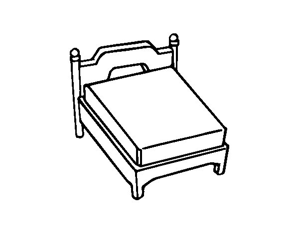 Queen bed without pillow coloring page Coloringcrewcom