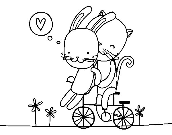 Rabbit and Cat lovers coloring page