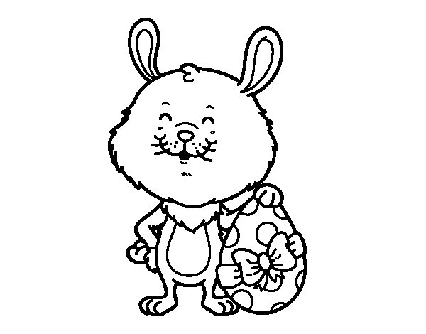 Rabbit with Easter present coloring page