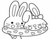 Rabbits in love coloring page