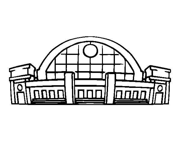 Railroad station coloring page