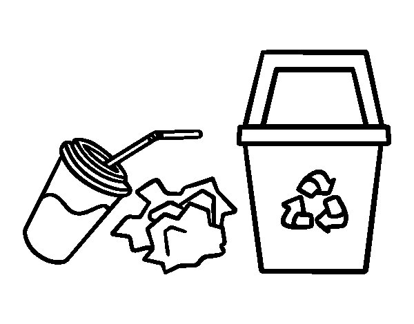 Recycling paper coloring page