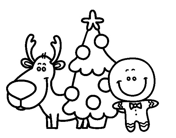 Reindeer, Tree and Marzipan coloring page