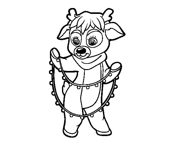 reindeer with christmas lights coloring page